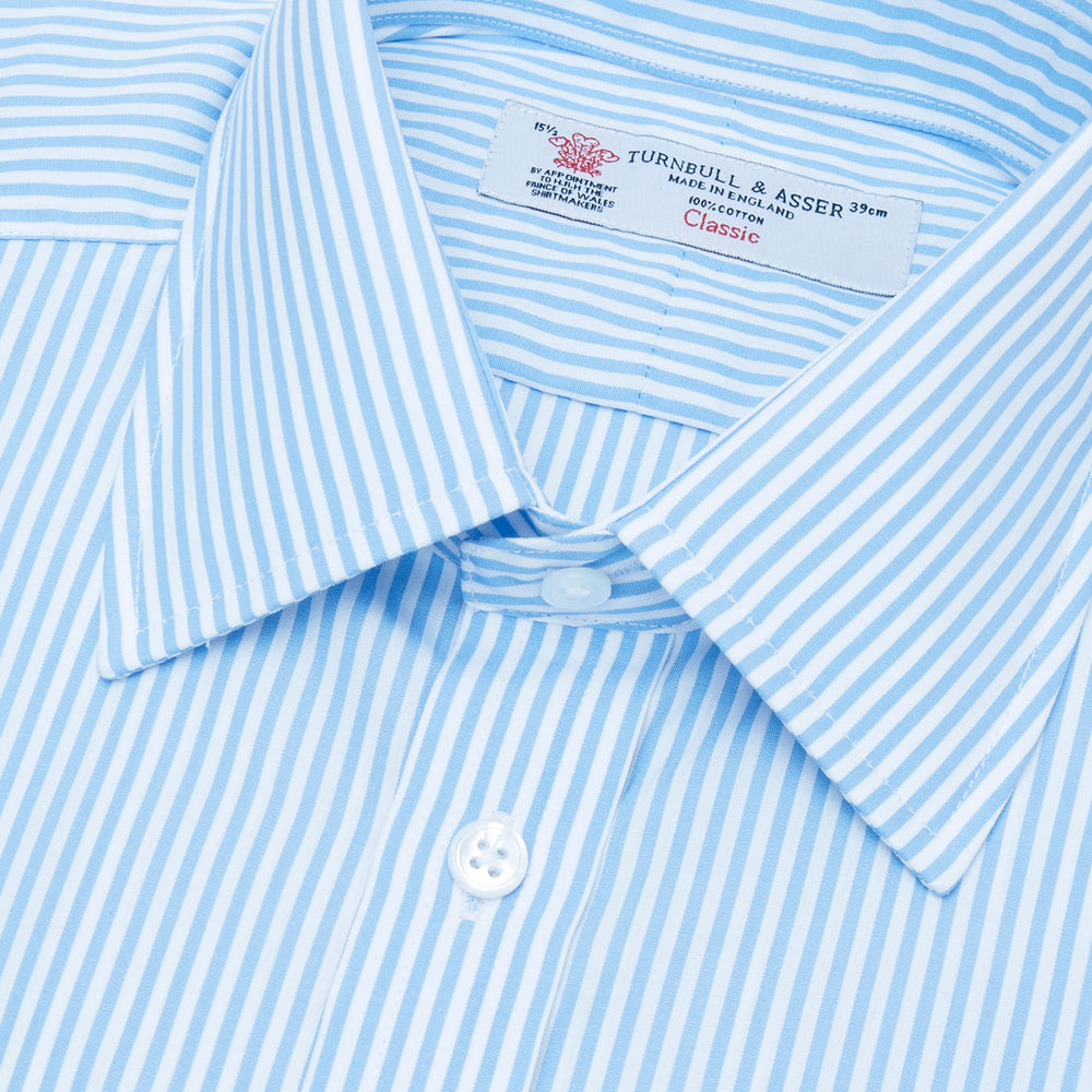 Light Blue Bengal Stripe Shirt with T&A Collar and Double Cuffs