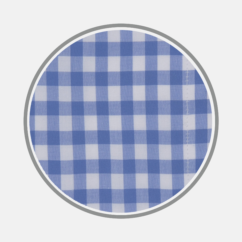 Blue Wide Gingham Check Cotton Fabric