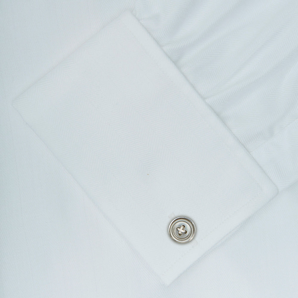 White Herringbone Superfine Cotton Shirt with T&A Collar and Double Cuffs