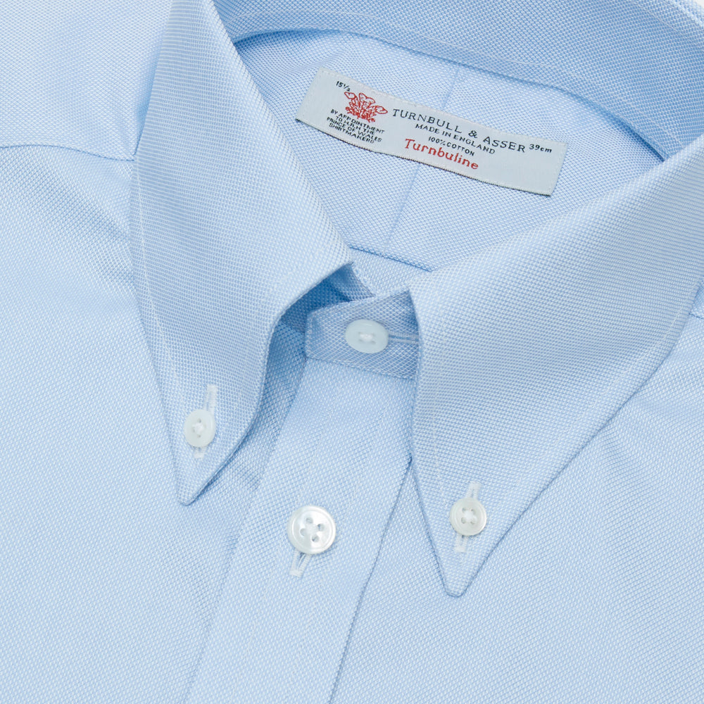 Light Blue Royal Oxford Cotton Shirt with Button-Down Collar and 3-Button Cuffs