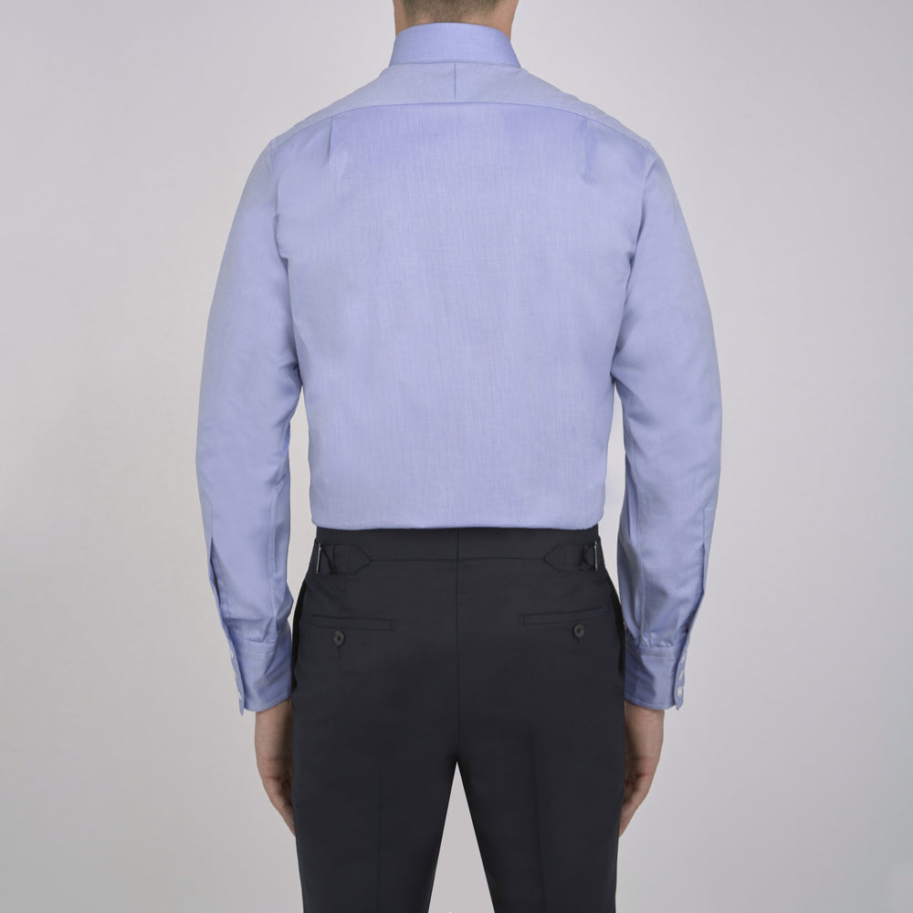 Blue Royal Oxford Cotton Shirt with Button-Down Collar and 3-Button Cuffs