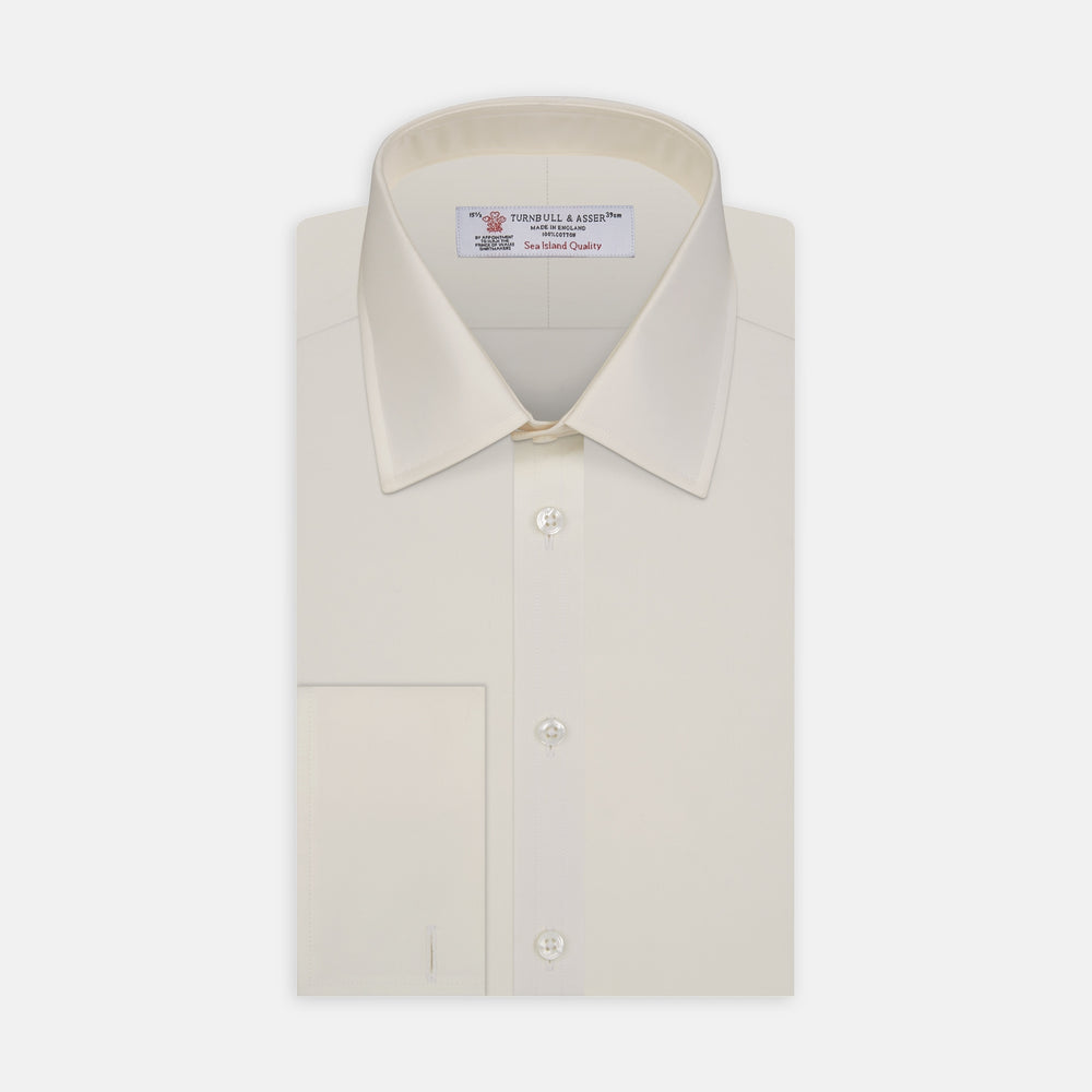 Cream Sea Island Quality Cotton Shirt with T&A Collar and Double Cuffs