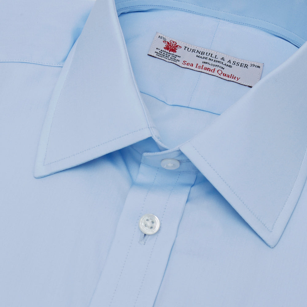Light Blue Sea Island Quality Cotton Shirt with T&A Collar and 3-Button Cuffs