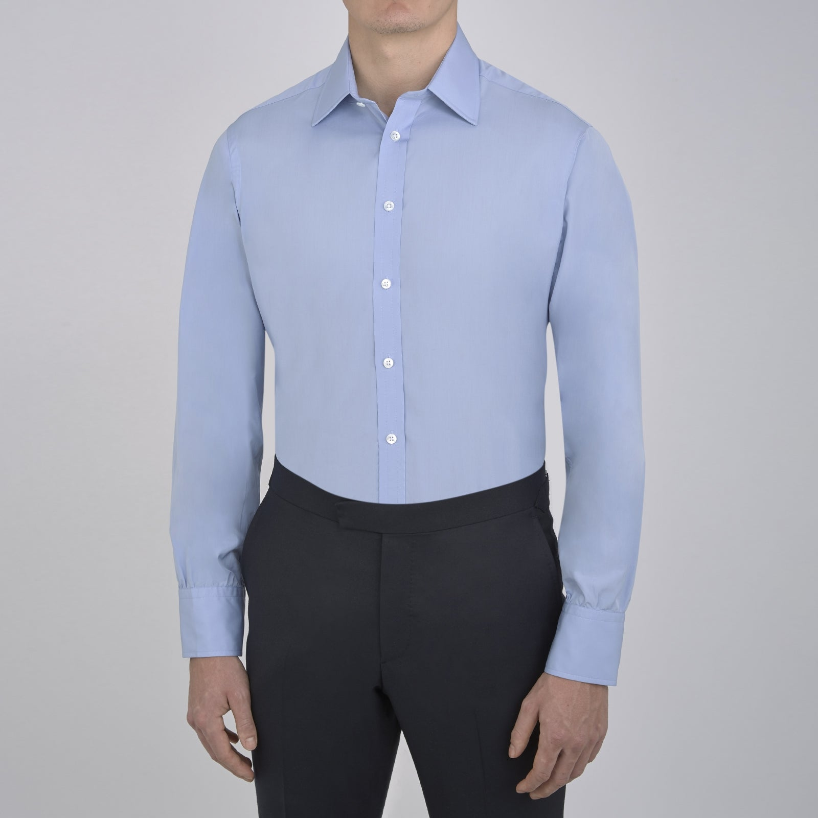 Blue Sea Island Quality Cotton Shirt with T&A Collar and 3-Button Cuffs