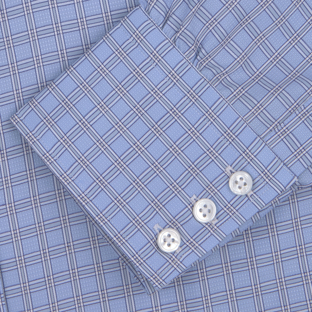 Mid Blue and White Check Shirt with T&A Collar and Button Cuffs