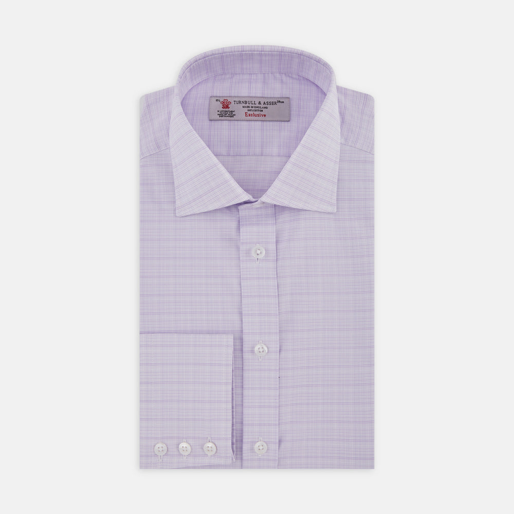 Lilac Micro Multi Check Shirt with Regent Collar and Button Cuffs