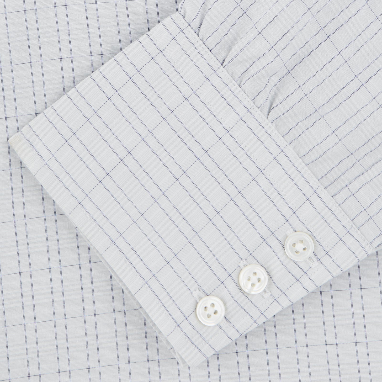 Grey Rectangle Check Shirt with T&A Collar and Button Cuffs