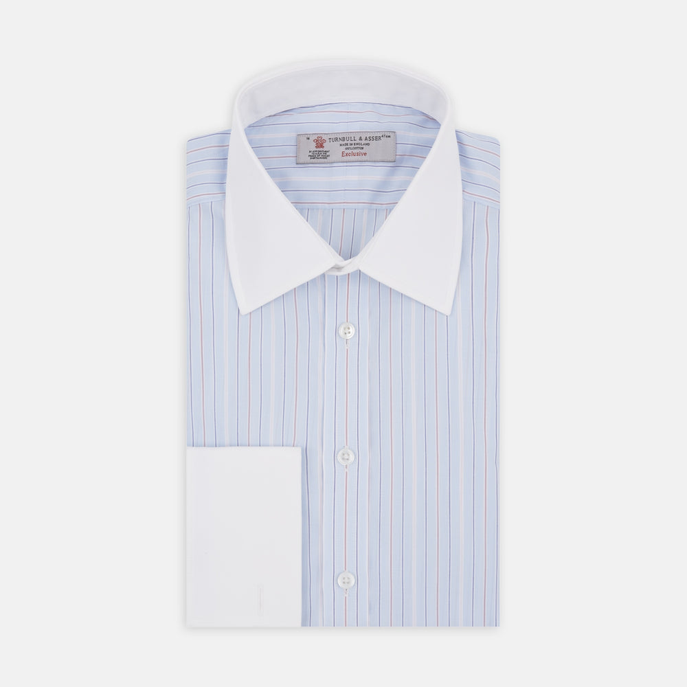 Blue and Red Fine Stripe Shirt with White T&A Collar and Double Cuffs