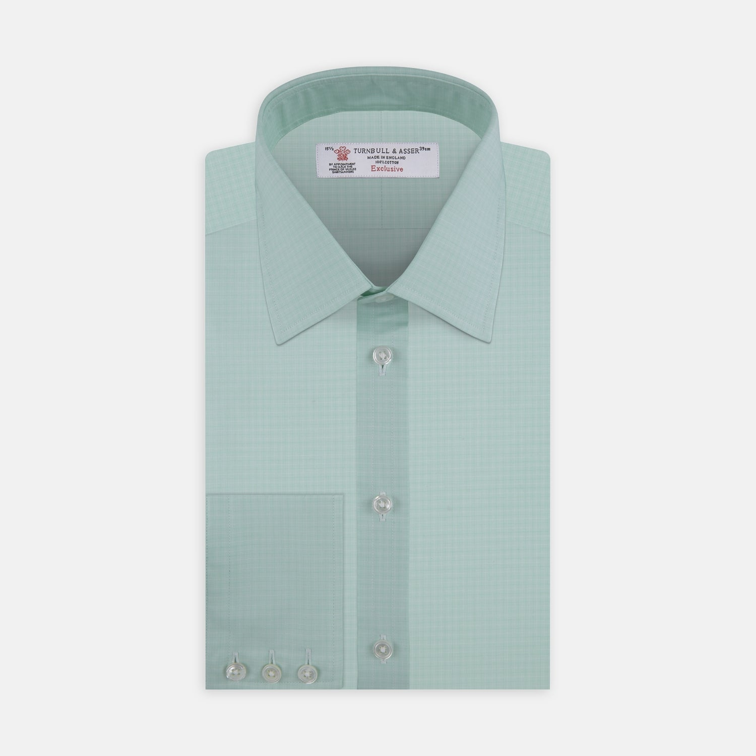 Green Faded Check Shirt with Classic T&A Collar and Button Cuffs
