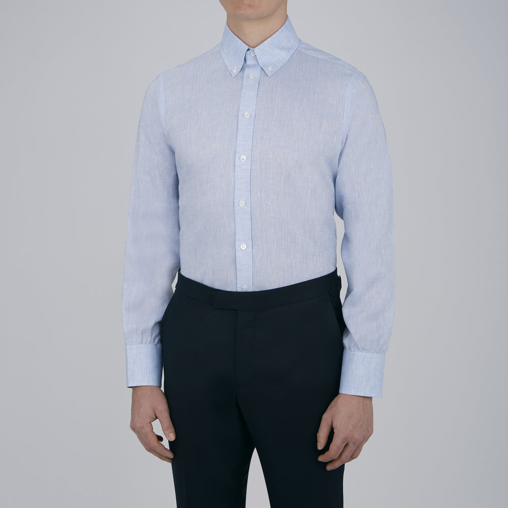 Blue Linen Journey Shirt with Cambridge Collar and Button Cuffs