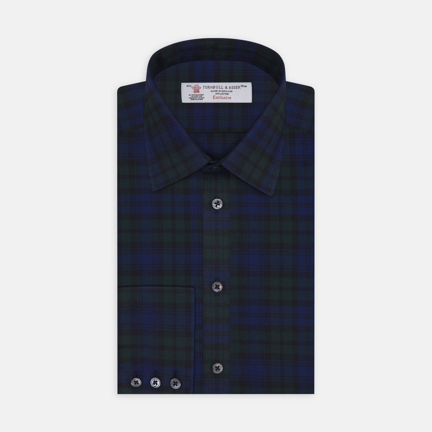 Blackwatch Brushed Cotton Shirt with T&A Collar and Button Cuffs