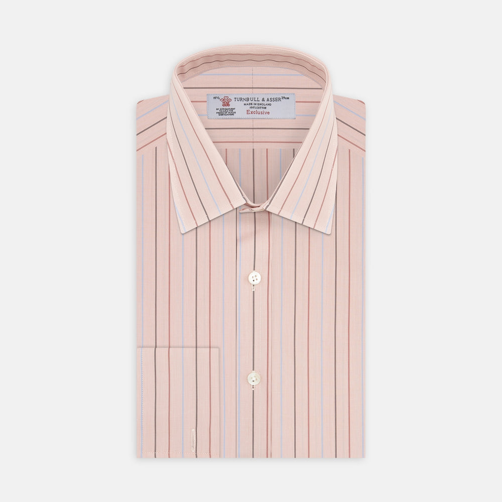 Pink, Red and Blue Pencil Stripe Shirt with T&A Collar and Double Cuffs