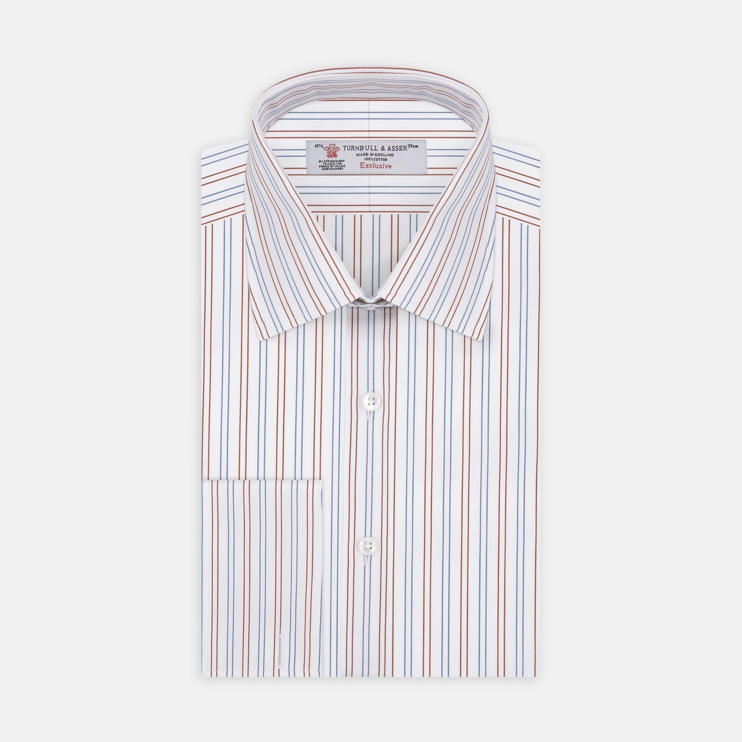 White, Brown and Blue Double Stripe Shirt with T&A Collar and Double Cuffs