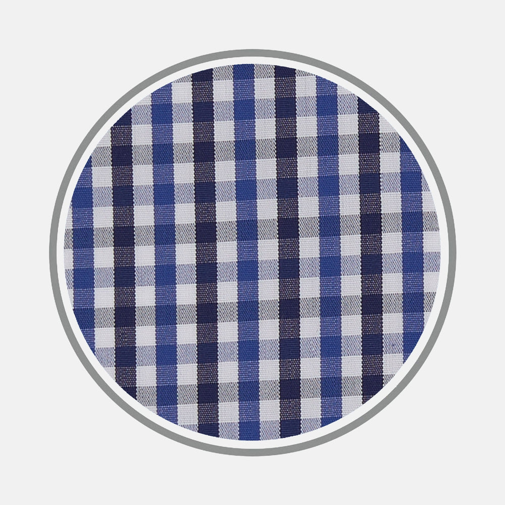 Navy Plaid Check Cotton Fabric