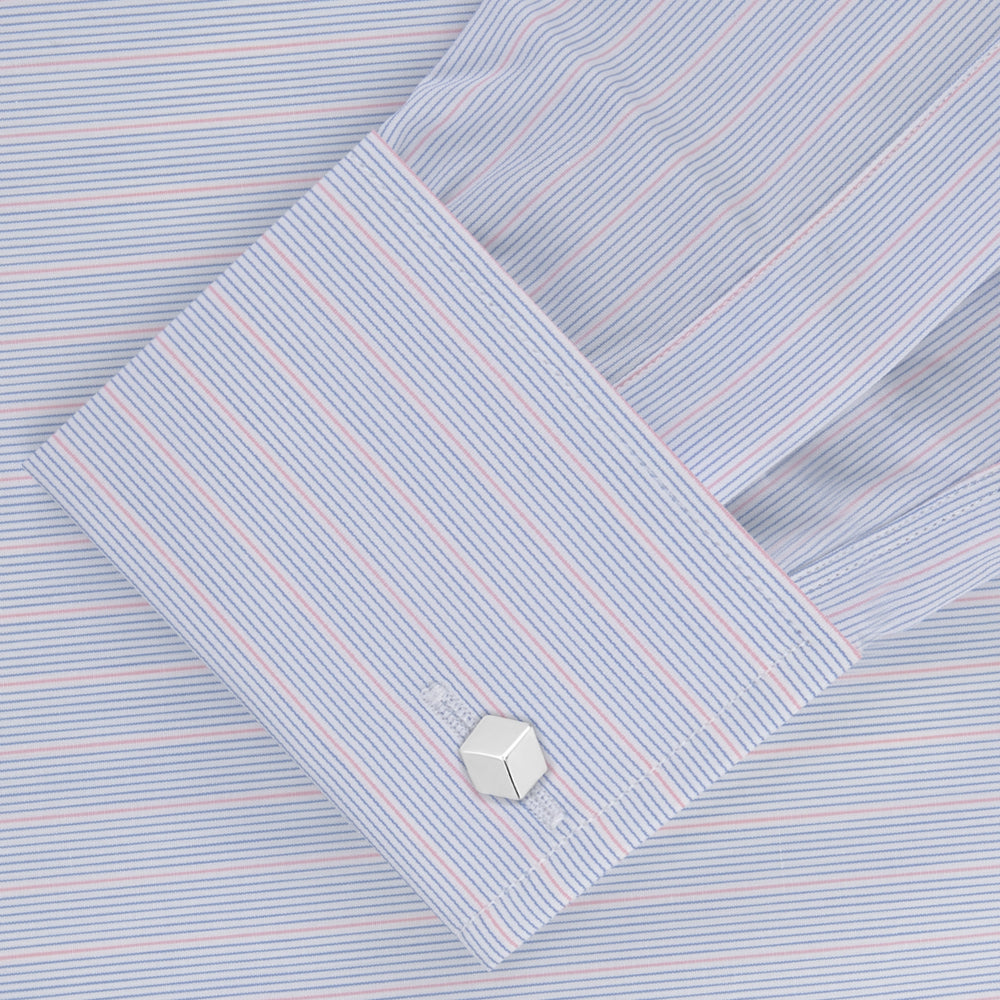 Blue and Pink Grouped Stripe Shirt with T&A Collar and Double Cuffs