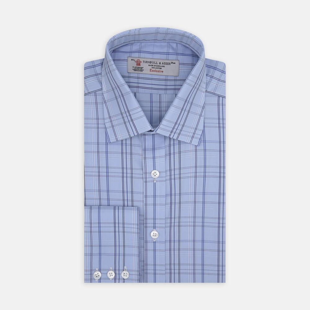 Blue Tower Check Cotton Shirt with T&A Collar and Button Cuffs