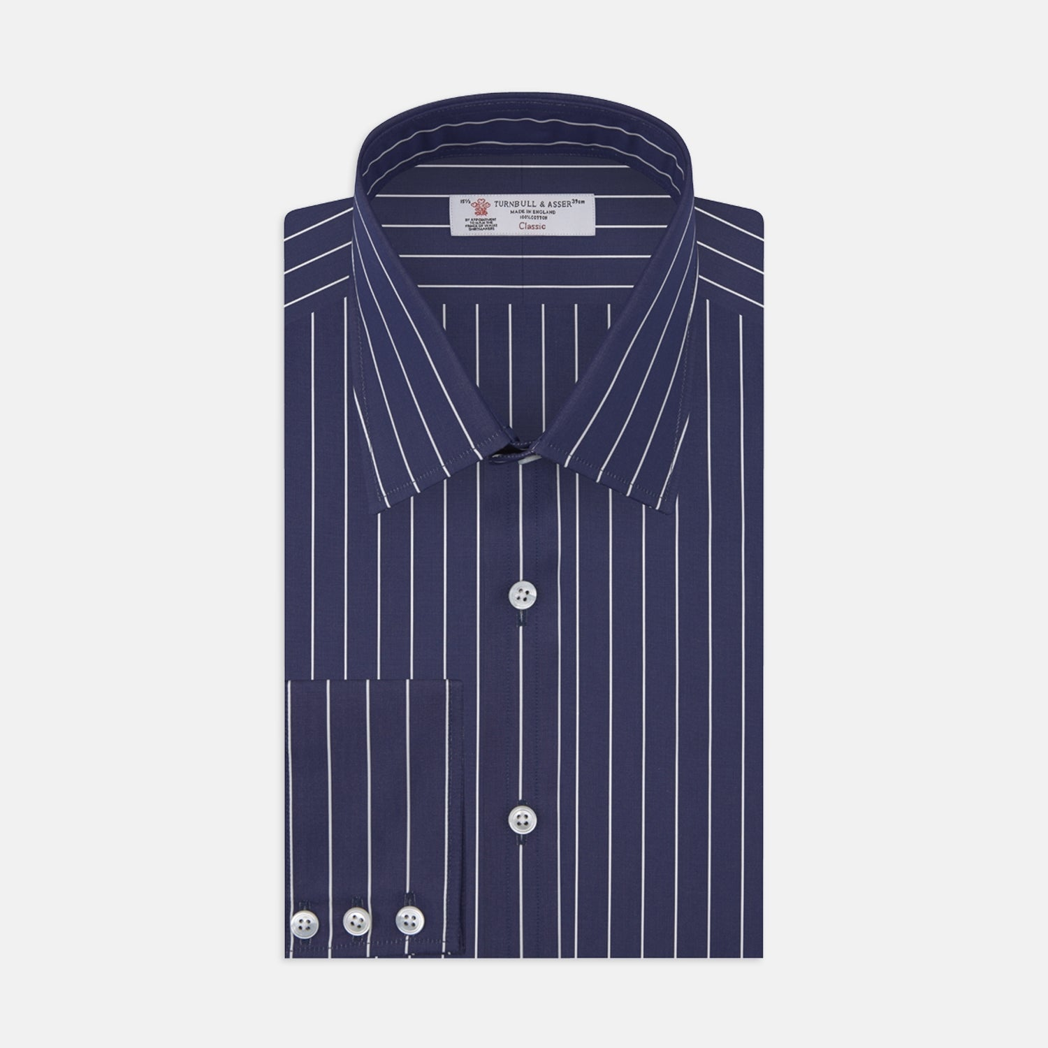 Navy and White Fine Stripe Cotton Shirt with T&A Collar and 3-Button Cuffs