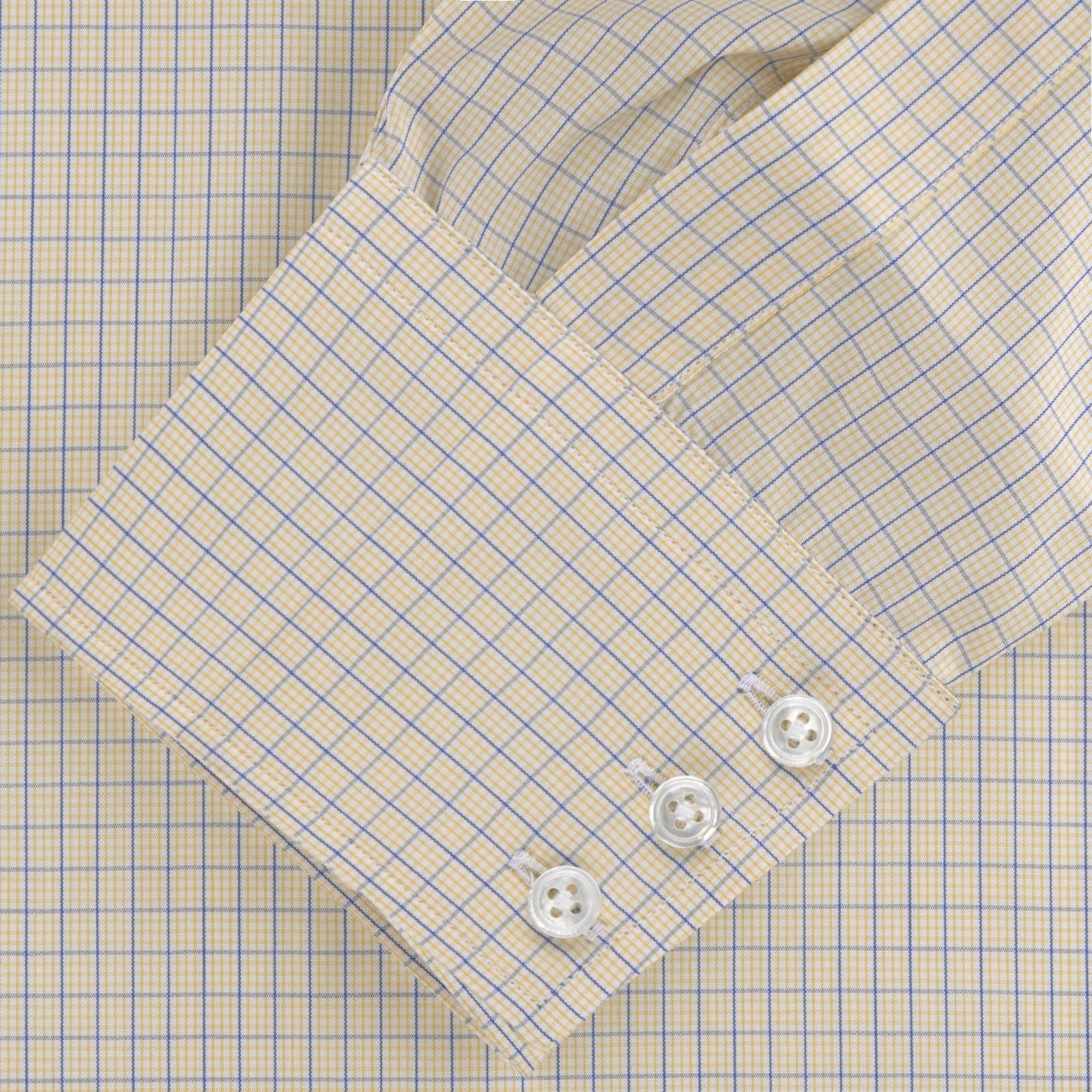 Yellow and Navy Windowpane Check Shirt with T&A Collar and 3-Button Cuffs