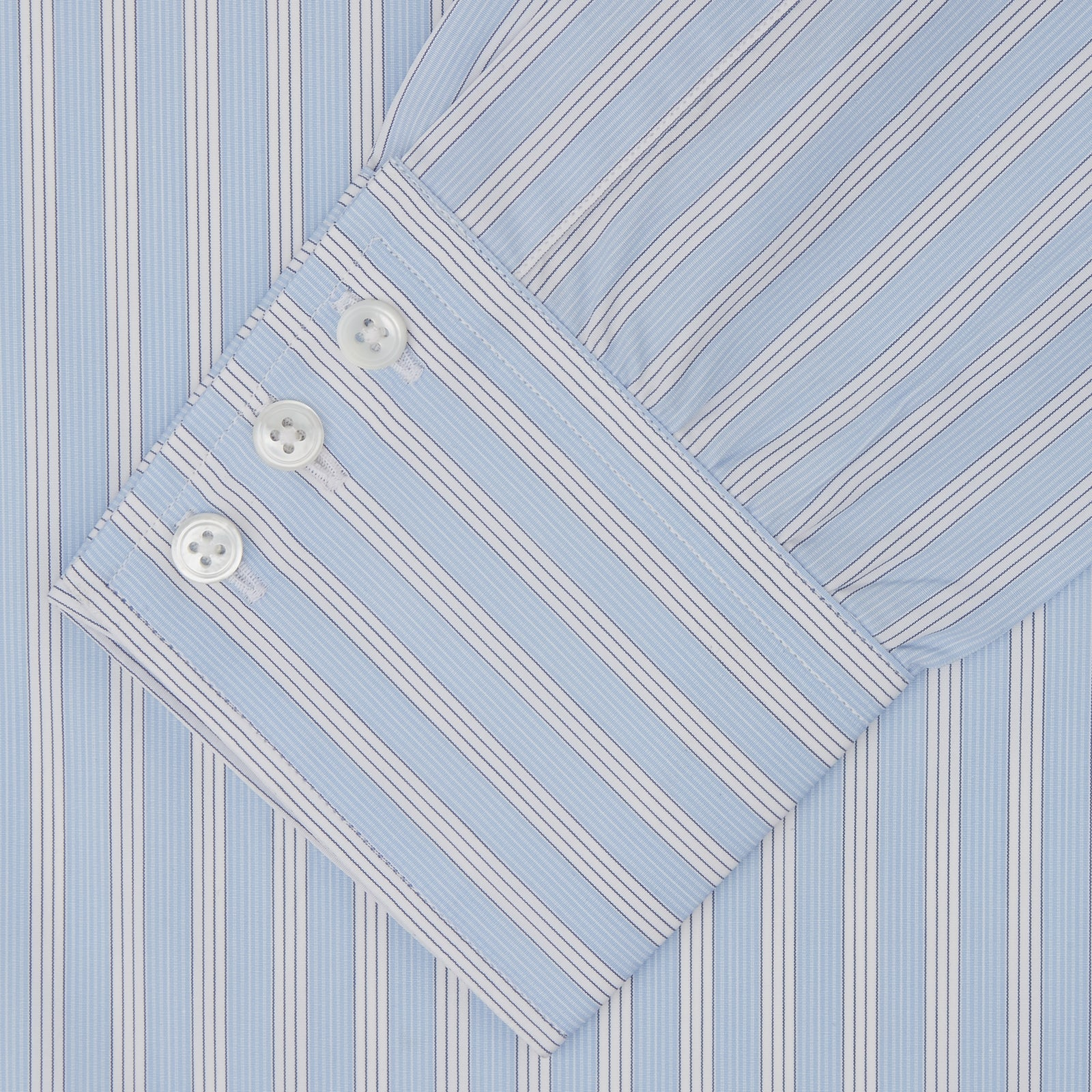 Blue and White Bold Stripe Shirt with T&A Collar and 3-Button Cuffs