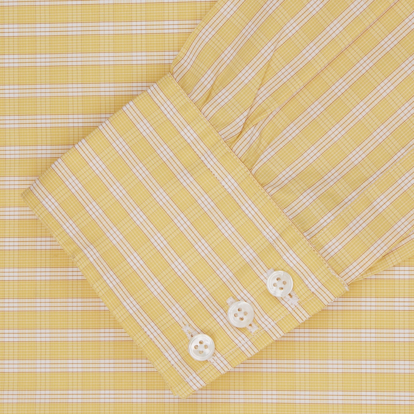 Yellow and White Bold Check Shirt with T&A Collar and 3-Button Cuffs