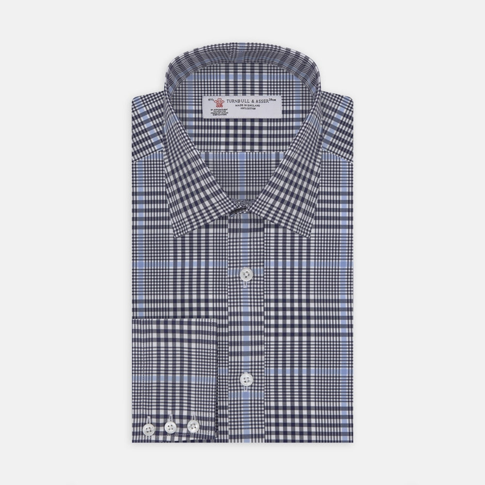 Navy and Blue Prince of Wales Wide Check Cotton Fabric