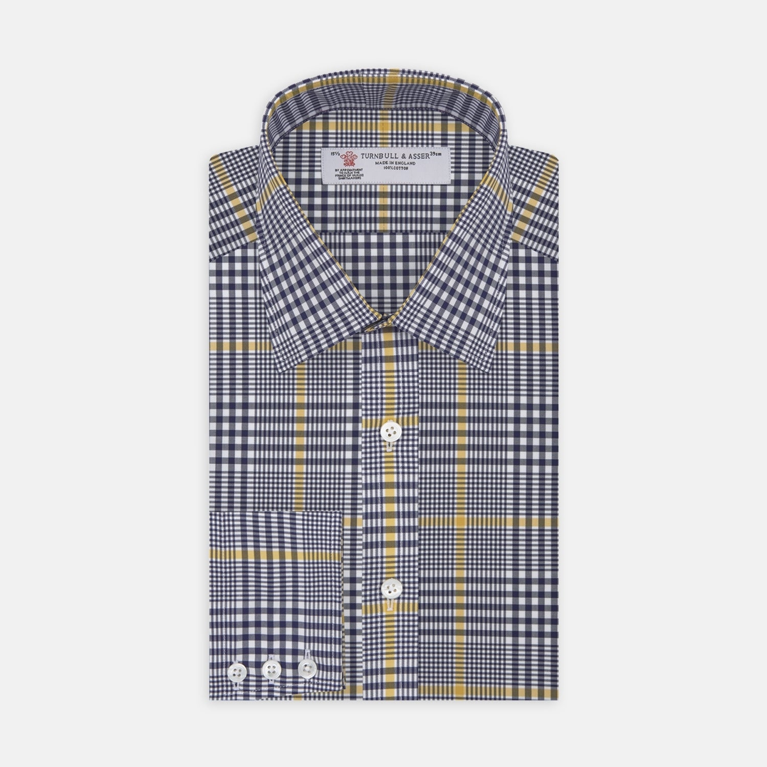 Navy and Yellow Prince of Wales Wide Check Cotton Fabric