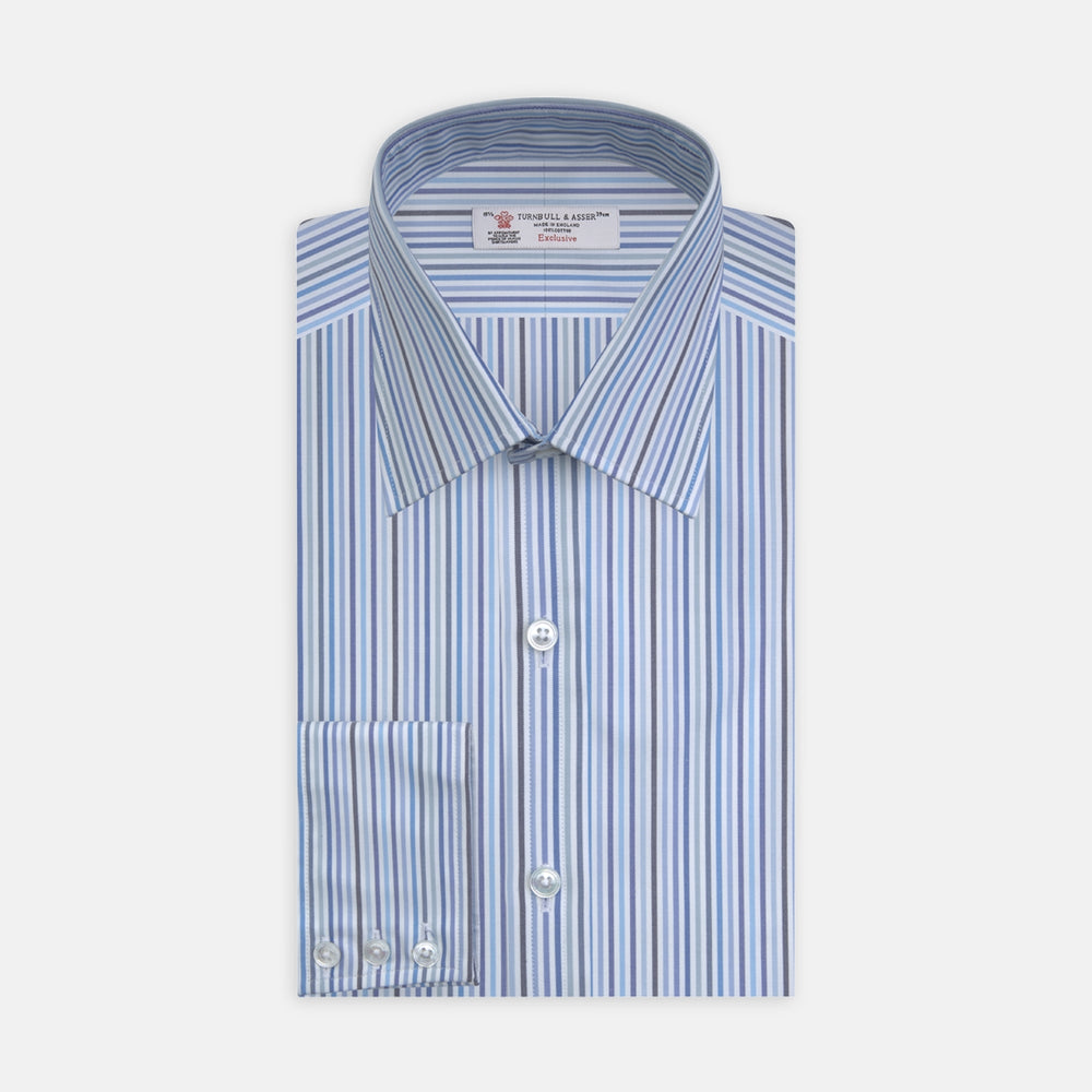 Blue and White Graph Stripe Shirt with T&A Collar and 3-Button Cuffs