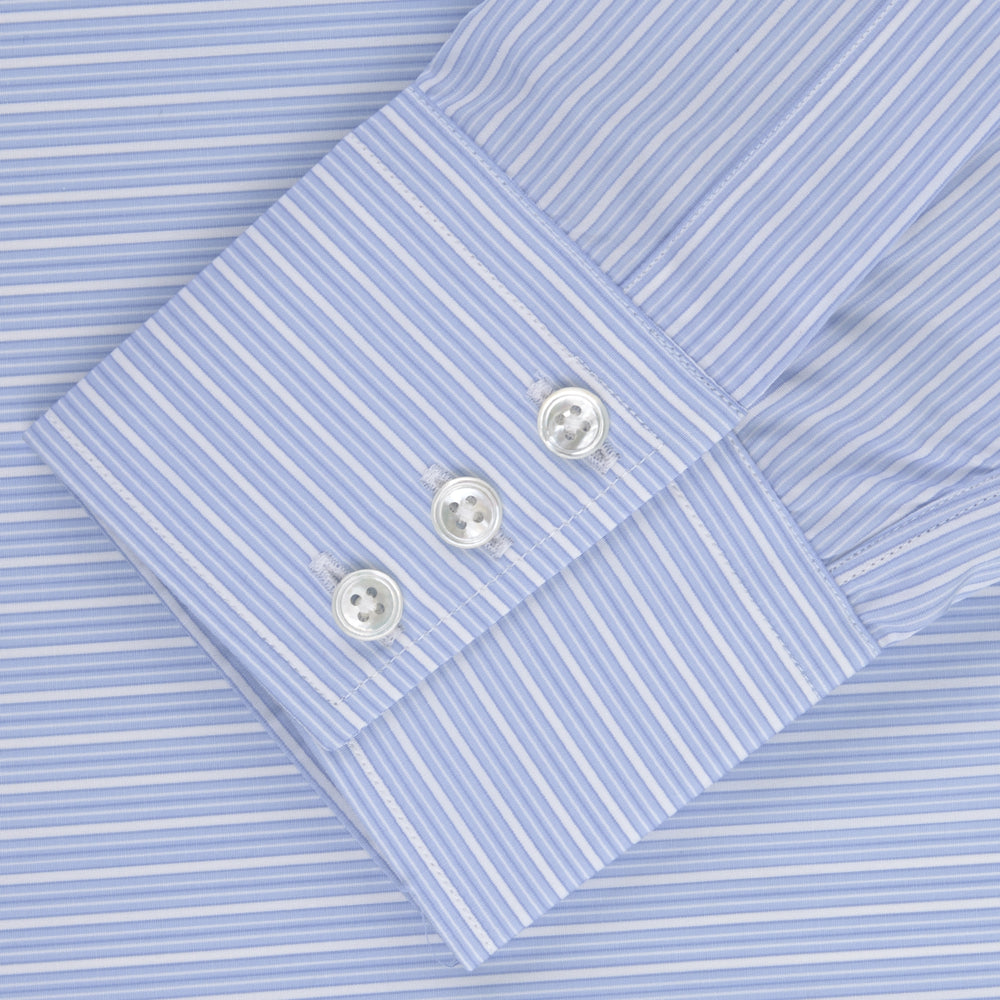 Light Blue Rich Stripe Shirt with T&A Collar and 3-Button Cuffs
