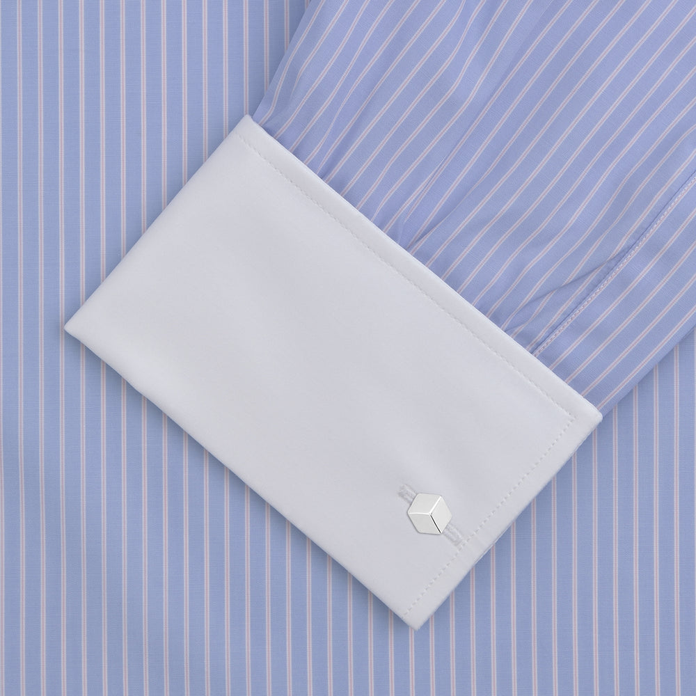 Blue and White Stripe Shirt with Contrast T&A Collar and Double Cuffs