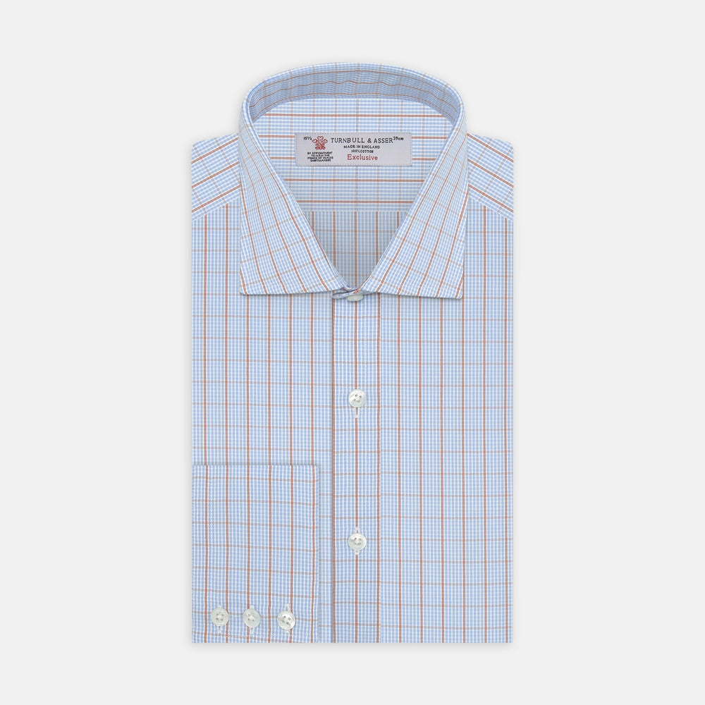 Sky Blue and Pink Pin Check Shirt with Regent Collar and 3-Button Cuffs