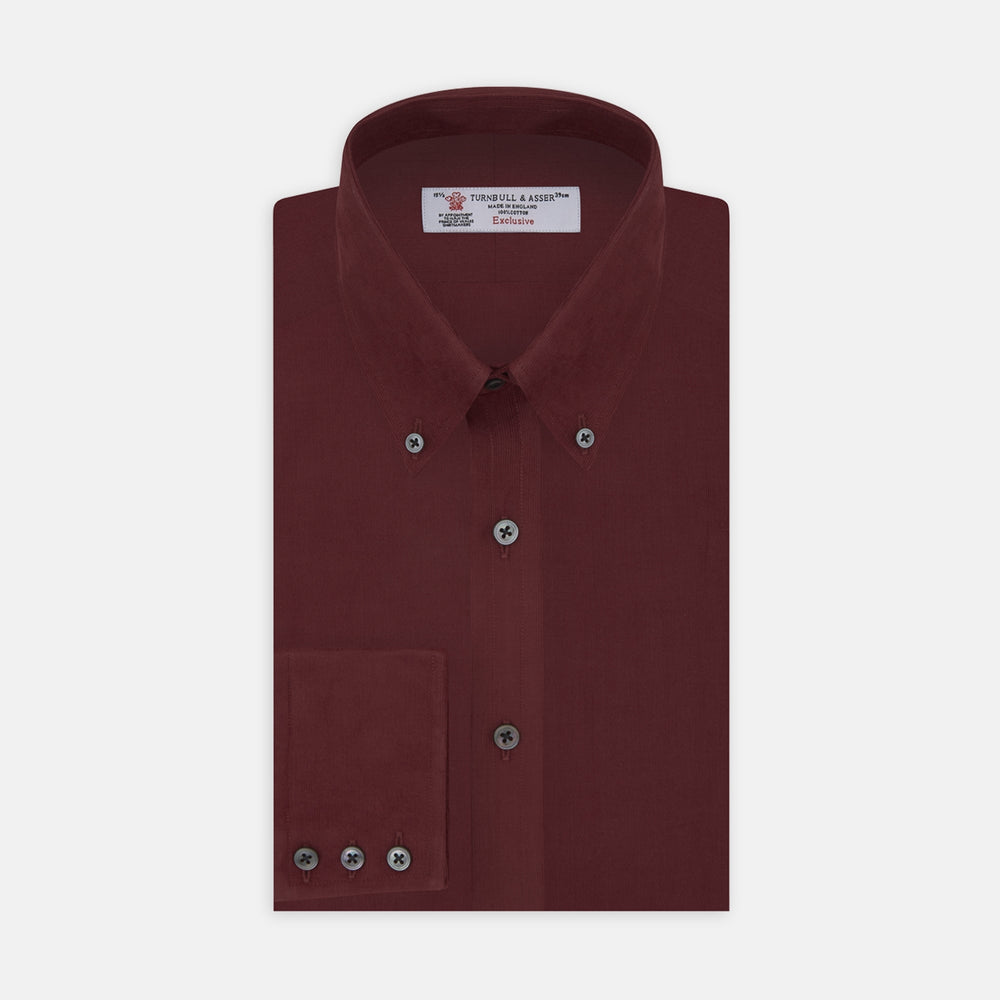 Burgundy Corduroy Cotton Shirt with Cambridge Collar and 3-Button Cuffs
