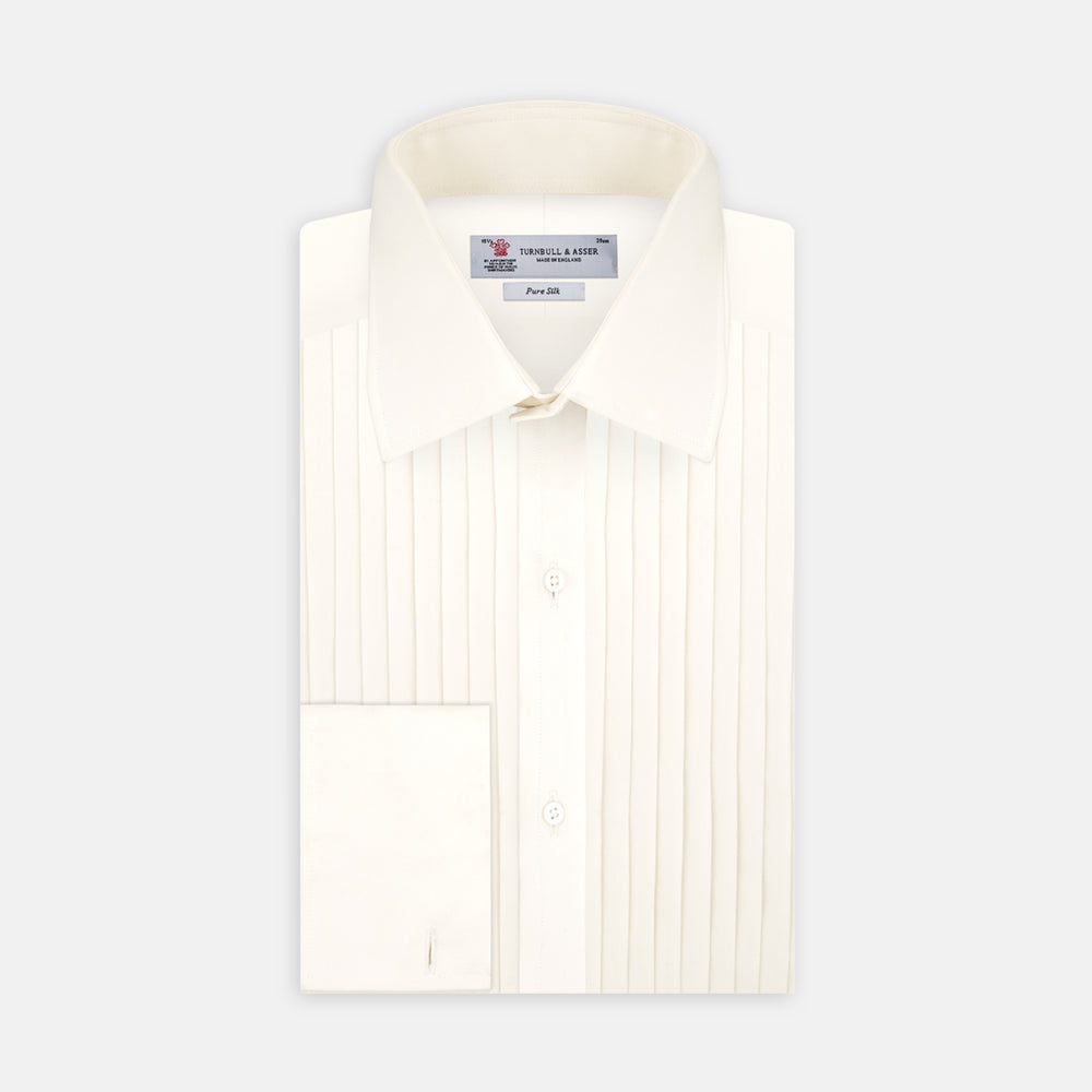 Tailored Fit Cream Pleated Front Silk Dress Shirt with T&A Collar and Double Cuffs