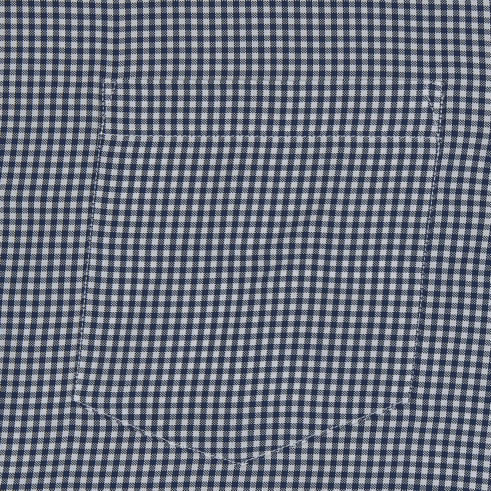 Holiday Fit Navy Check Short Sleeve Shirt with Revere Collar