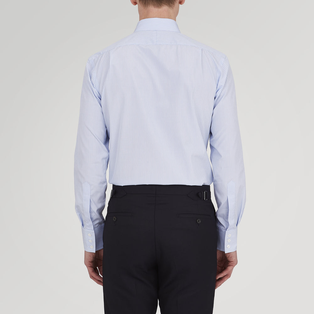 Tailored Fit Light Blue and White Pinstripe Shirt with Bury Collar and 3-Button Cuffs
