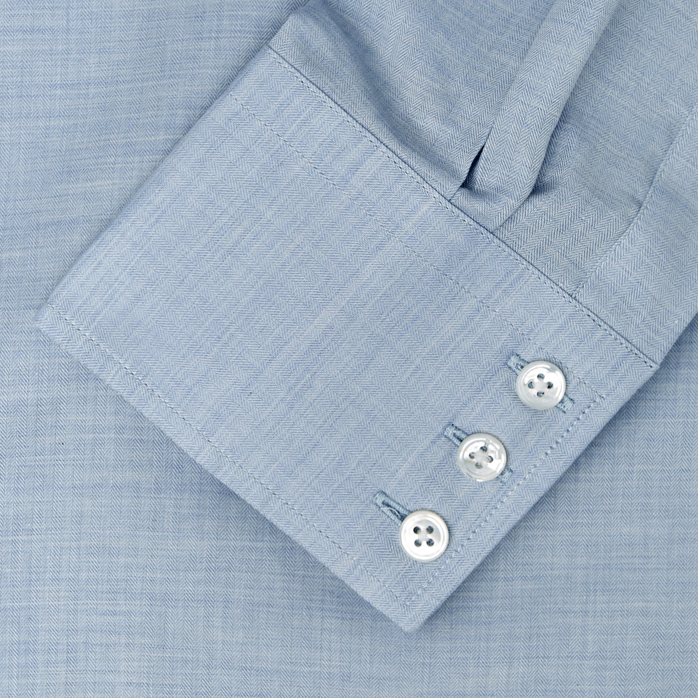 Tailored Fit Light Blue Flannel Shirt with Bury Collar and 3-Button Cuffs
