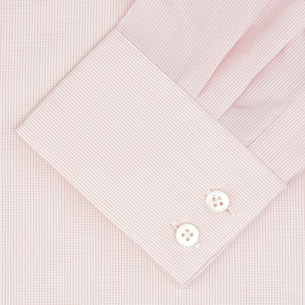 Tailored Fit Pink Fine Check Shirt with Kent Collar and 2-Button Cuffs