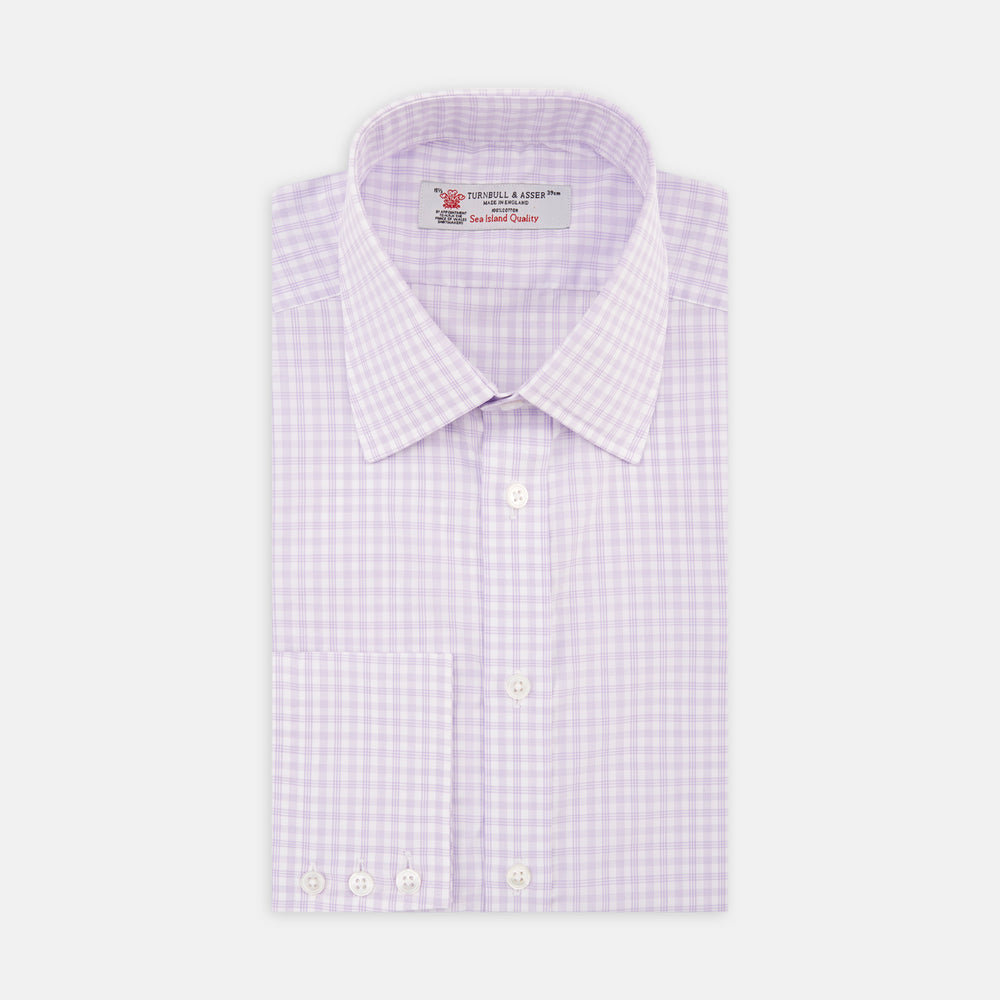 Lilac and White Multi Check Sea Island Quality Cotton Shirt with Classic T&A Collar