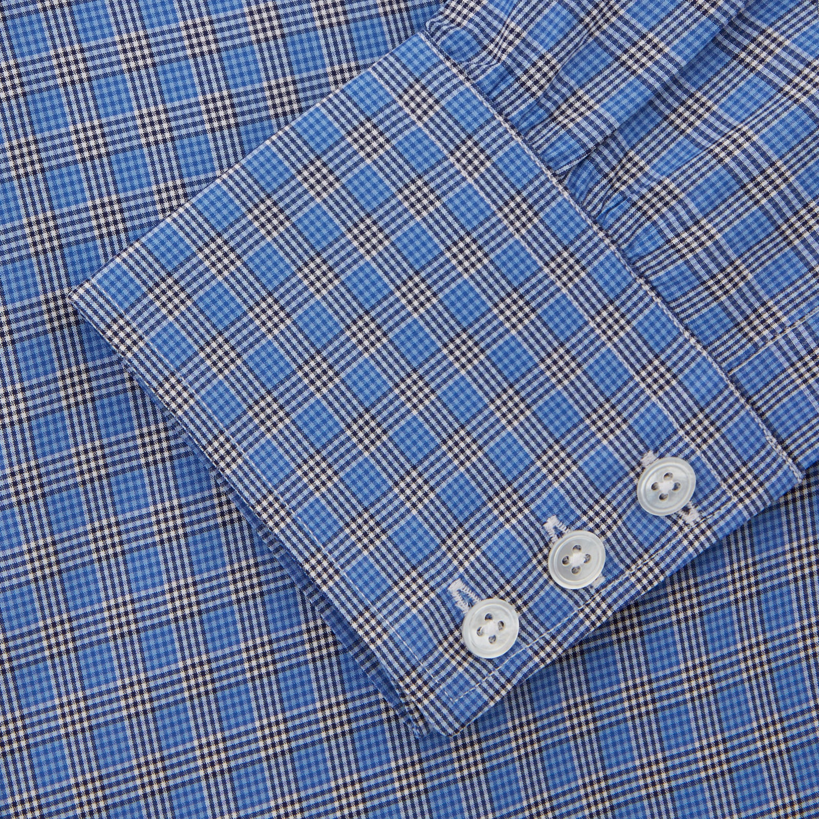 Blue and Black Multi Micro Gingham Cotton Shirt with Classic T&A Collar
