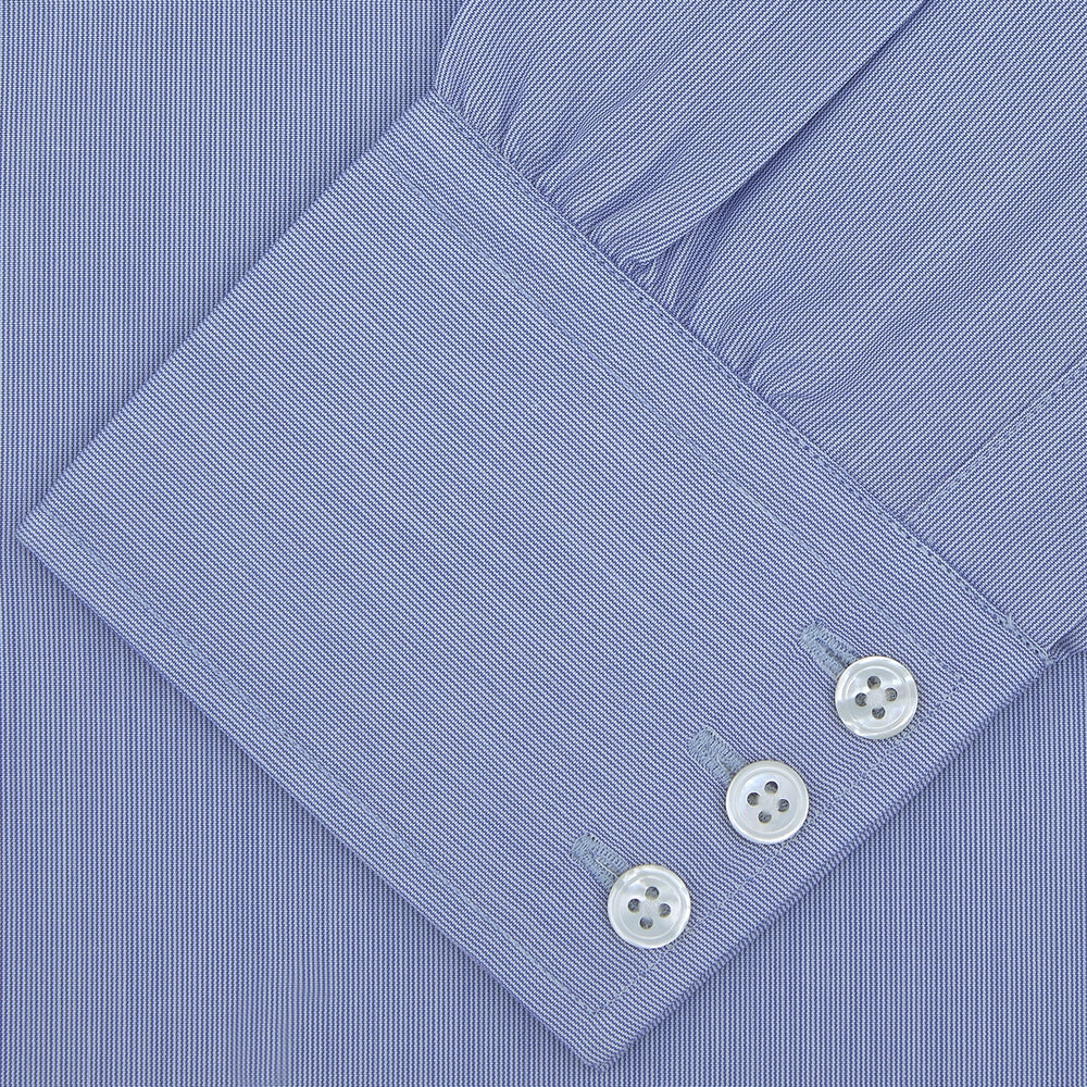 Blue Hairline Stripe Shirt with Regent Collar and 3-Button Cuffs