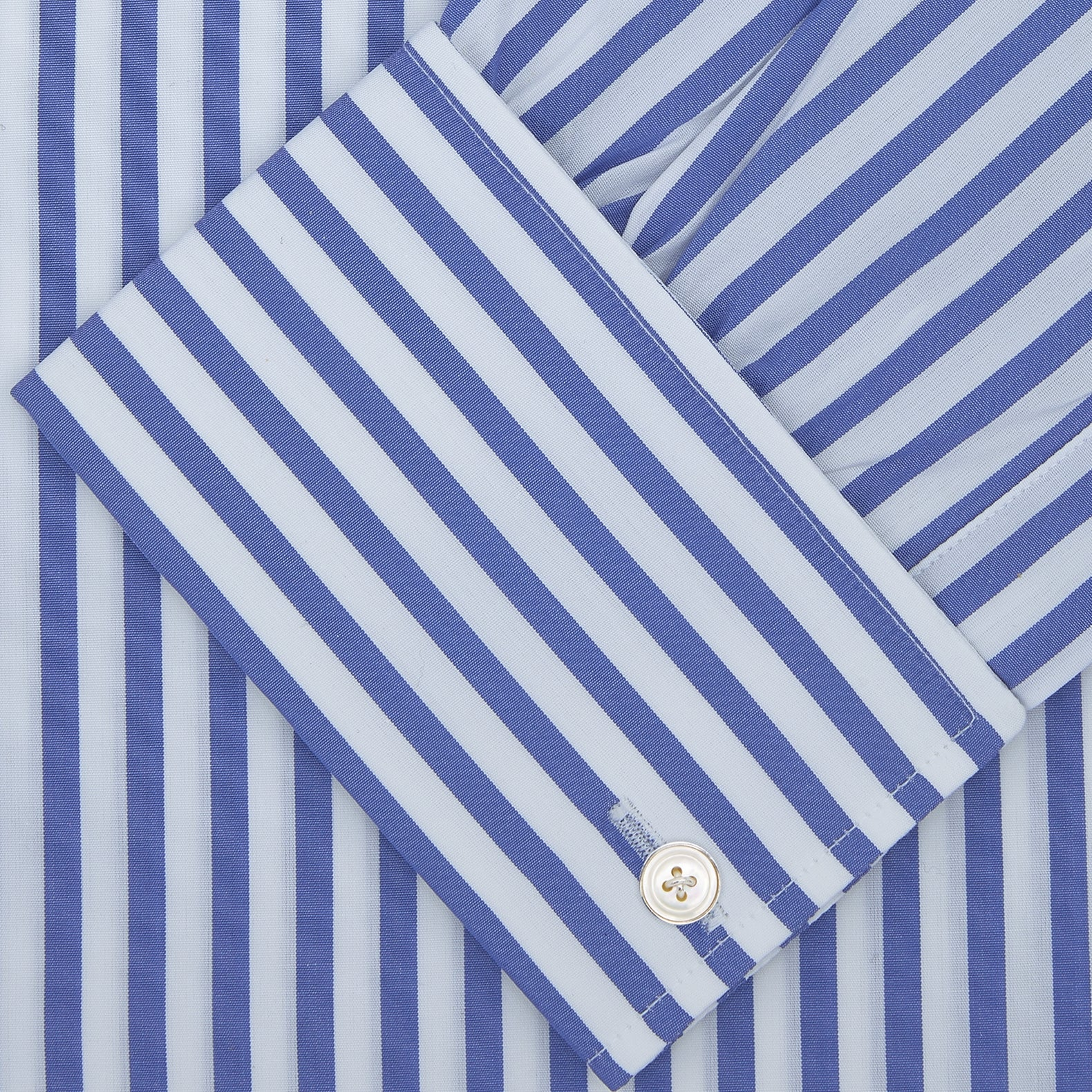 Blue and White Candy Stripe Shirt with Regent Collar and Double Cuffs