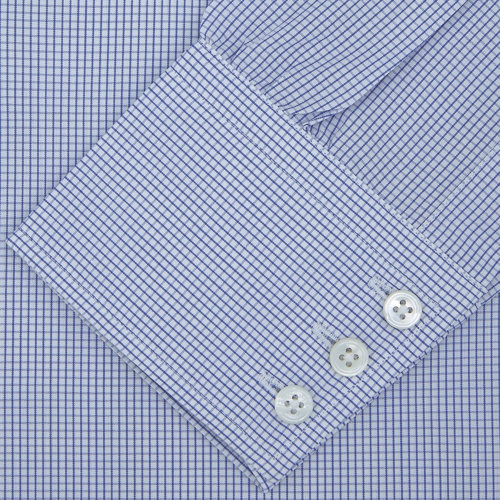 Blue Grid Check Shirt with Regent Collar and 3-Button Cuffs