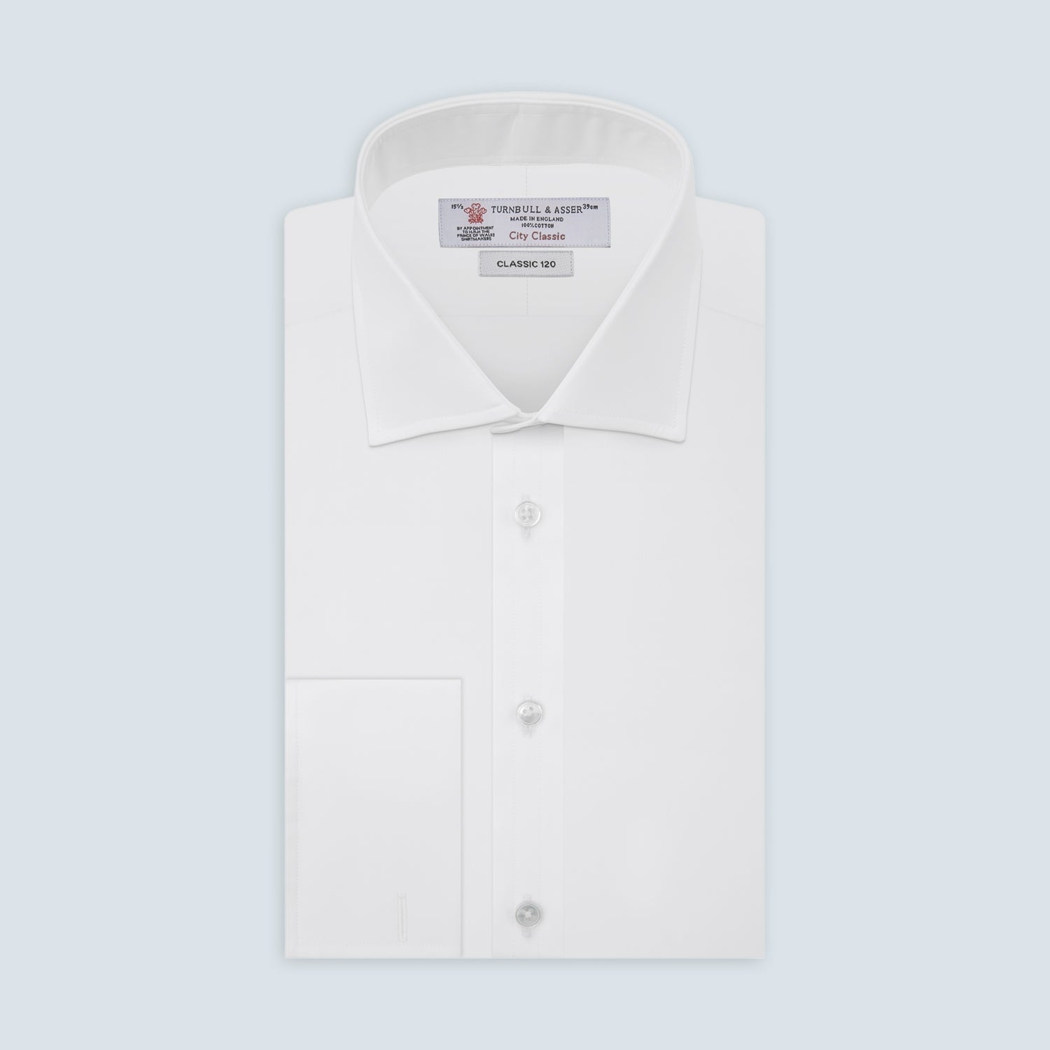 Two-Fold 120 White Cotton Shirt with Regent Collar and Double Cuffs