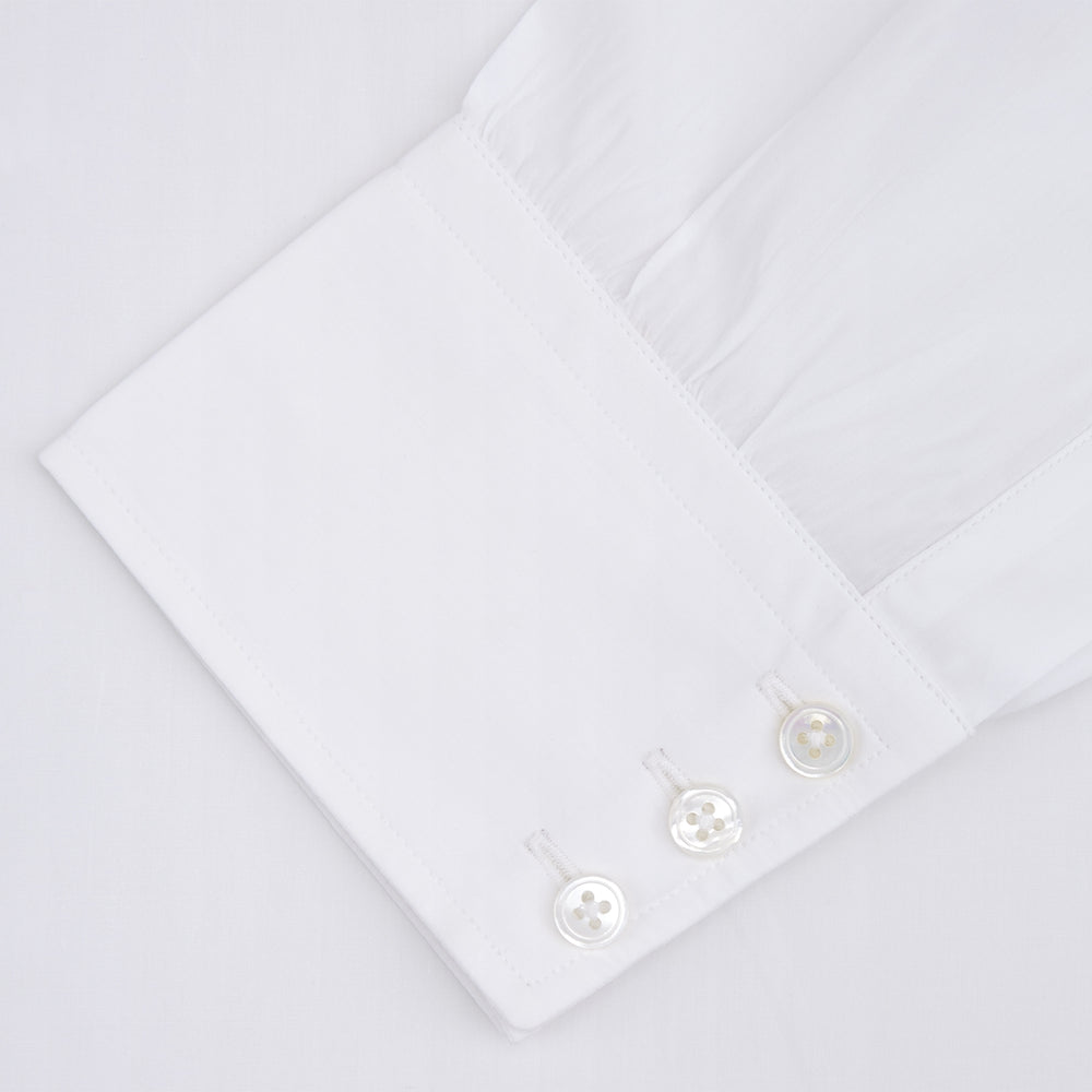 Two-Fold 200 White Cotton Shirt with T&A Collar and 3-Button Cuffs
