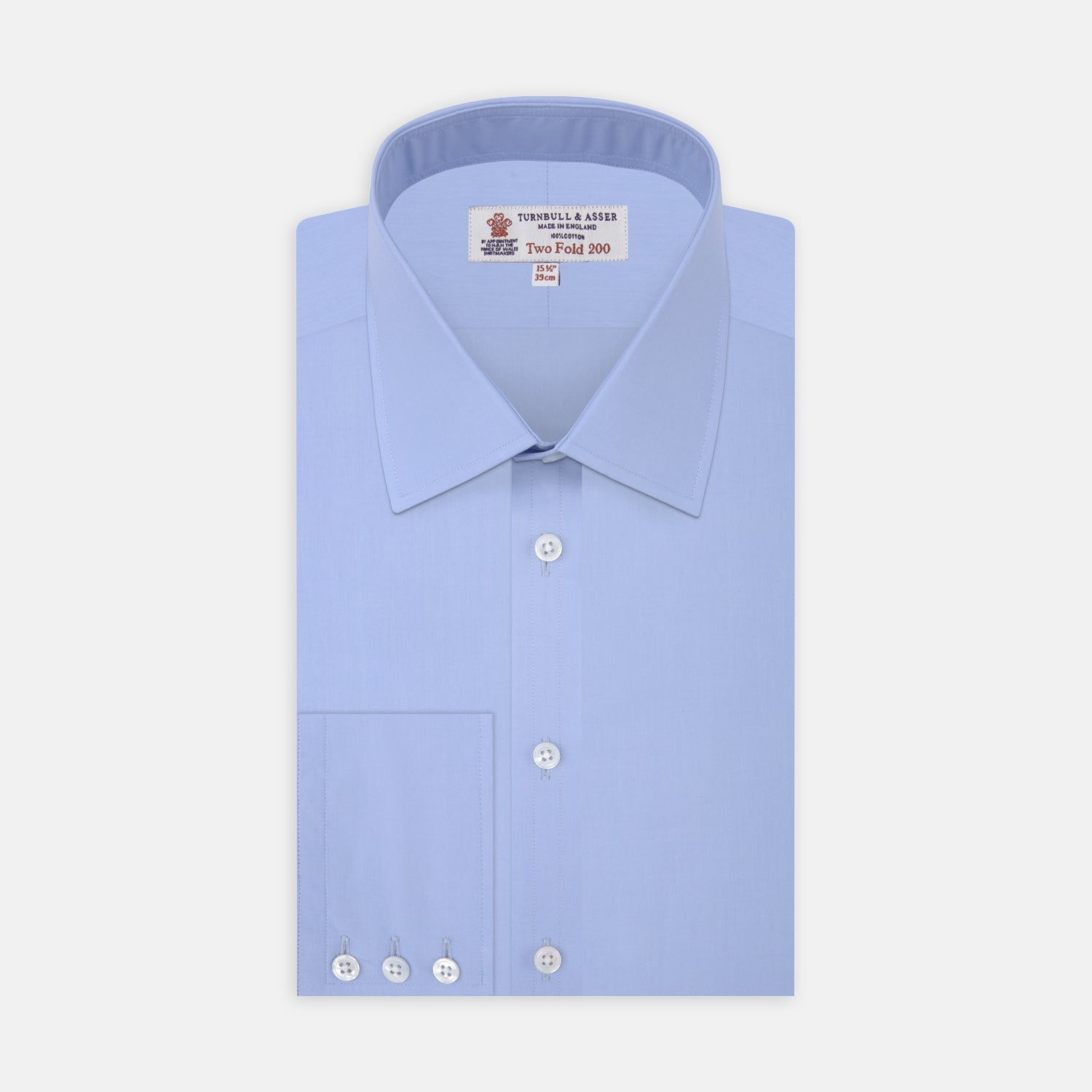 Two-Fold 200 Blue Cotton Shirt with T&A Collar and 3-Button Cuffs