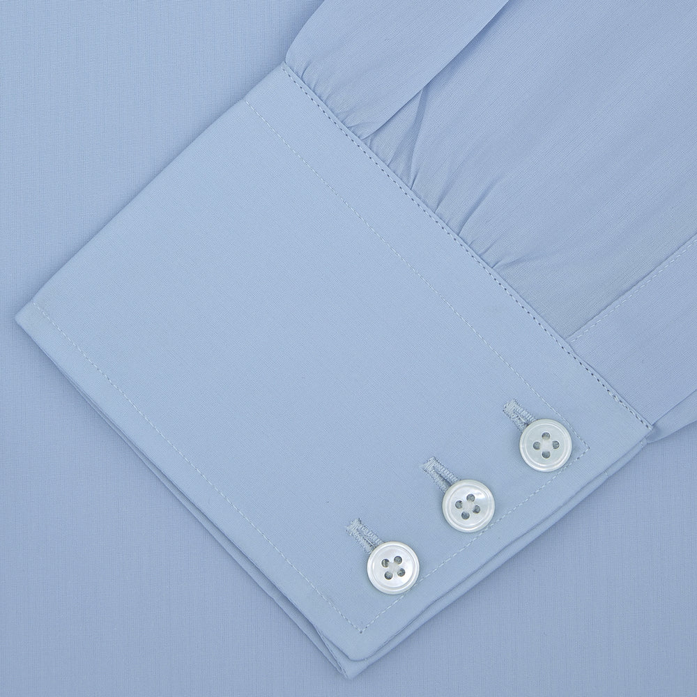 Blue Sea Island Quality Cotton Shirt with Dr. No Collar and Button Cuffs