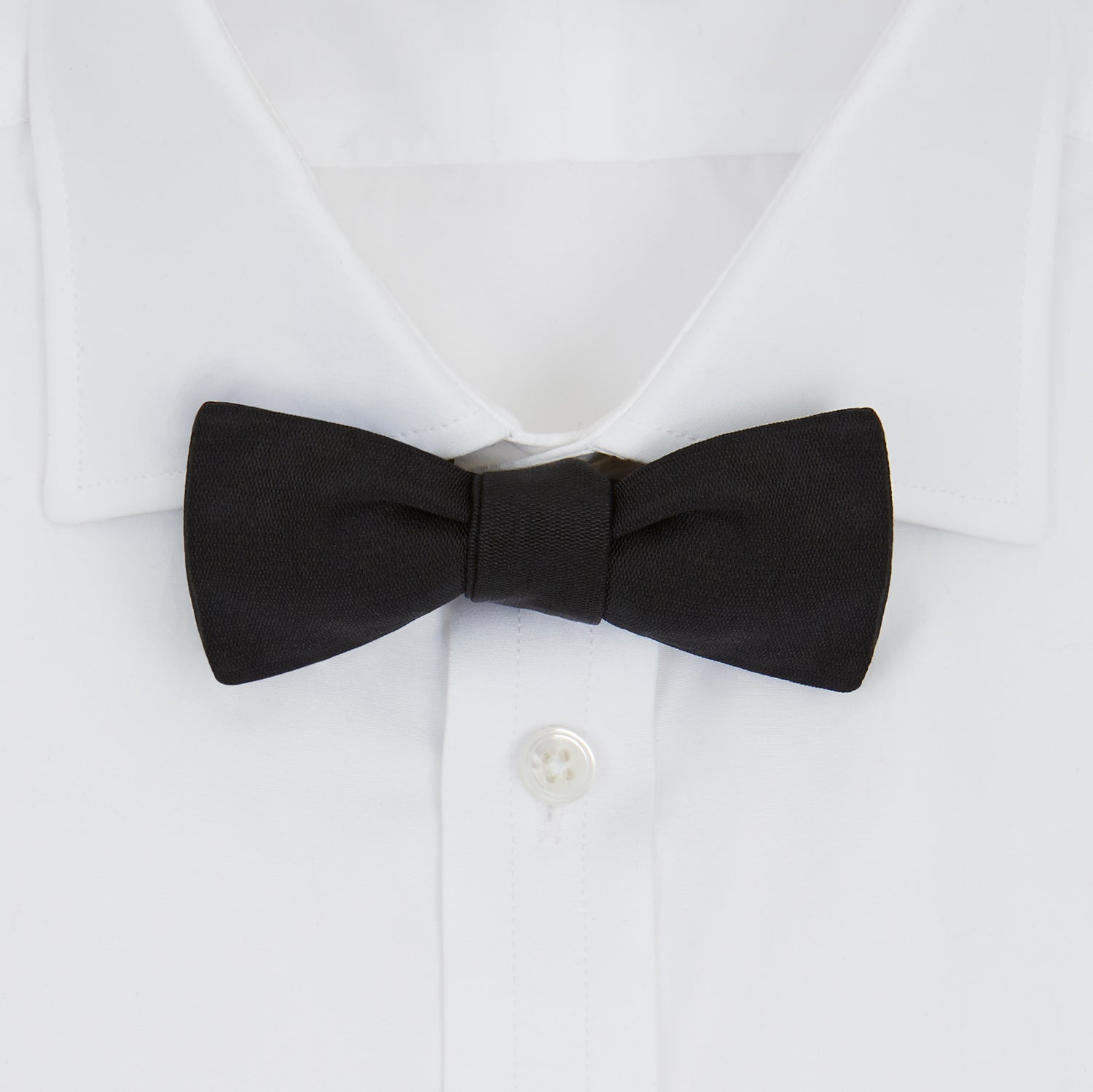 Black Narrow Silk Bow Tie