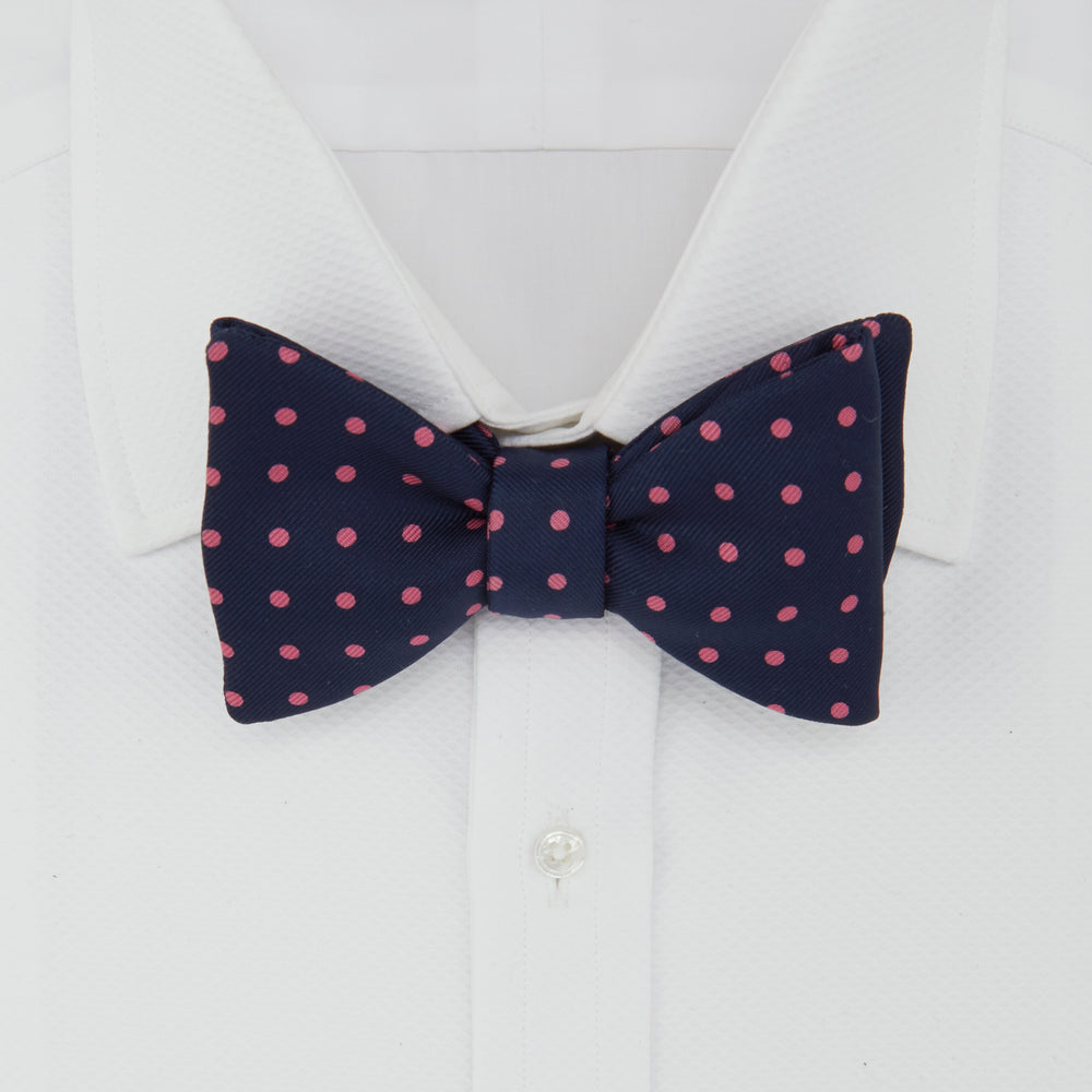 Navy and Pink Spot Silk Bow Tie