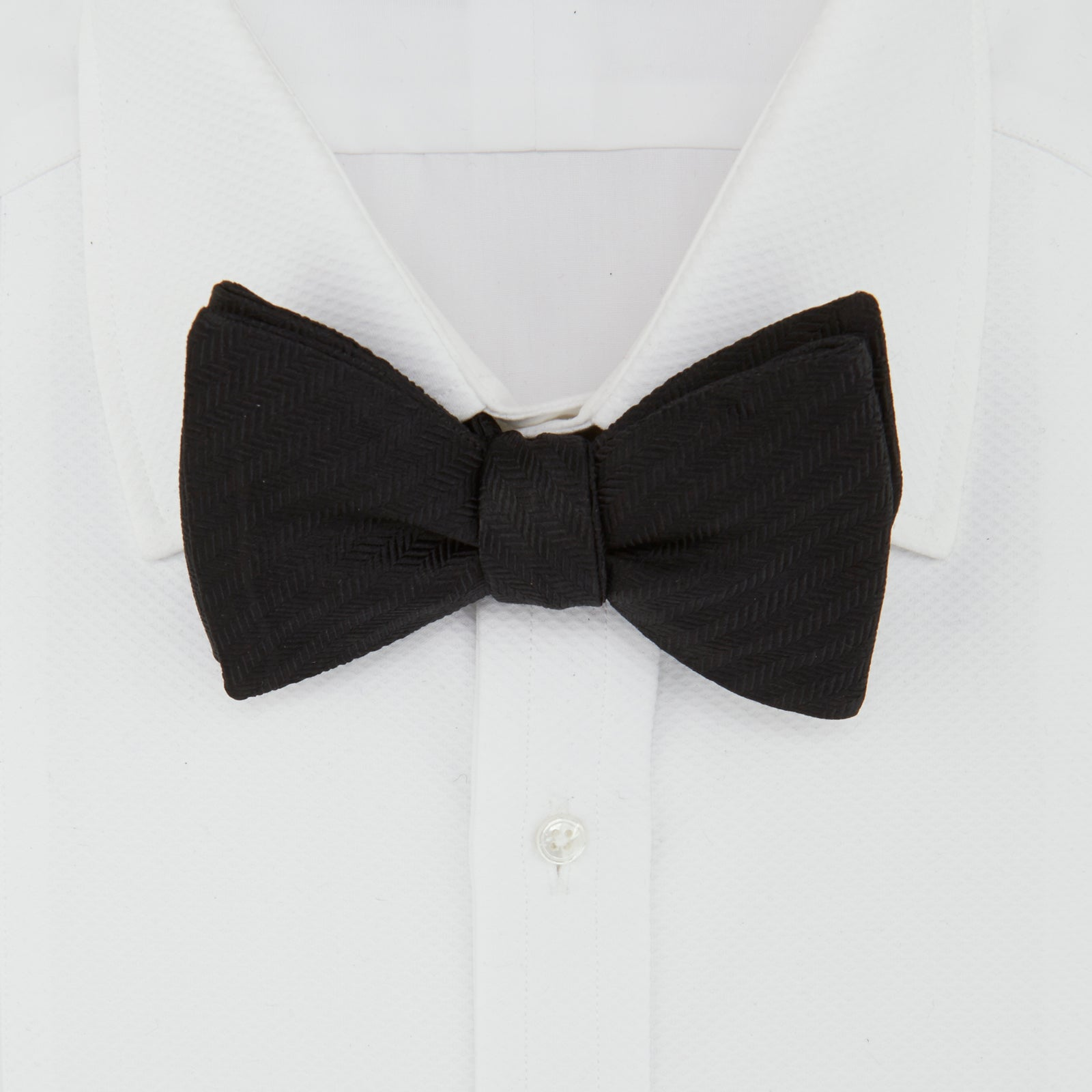 Black Herringbone Silk Bow Tie