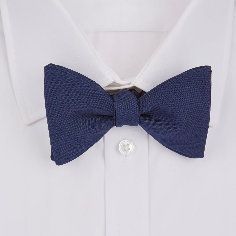 Navy Plain Silk Bow Tie