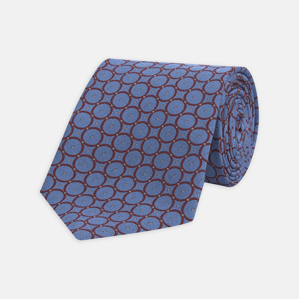 Turquoise and Burgundy Shield Silk Tie